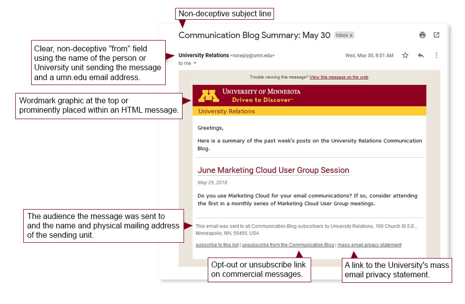 Email annotated with CAN-SPAM and University of Minnesota Branding Requirements