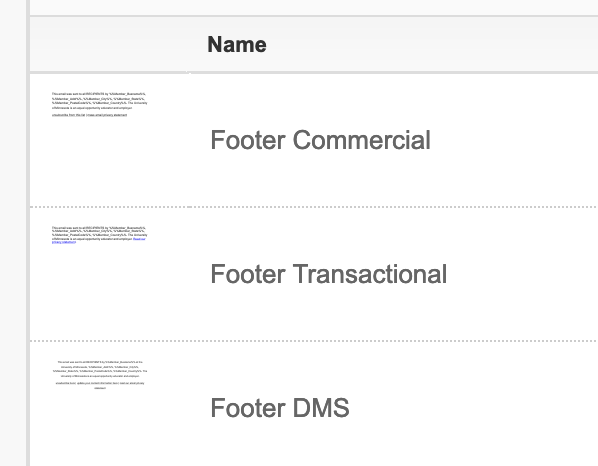 Select the appropriate Footer DMS in Salesforce Marketing Cloud