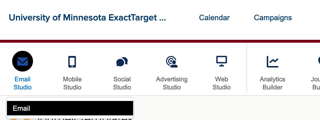 SMC Email Studio menu