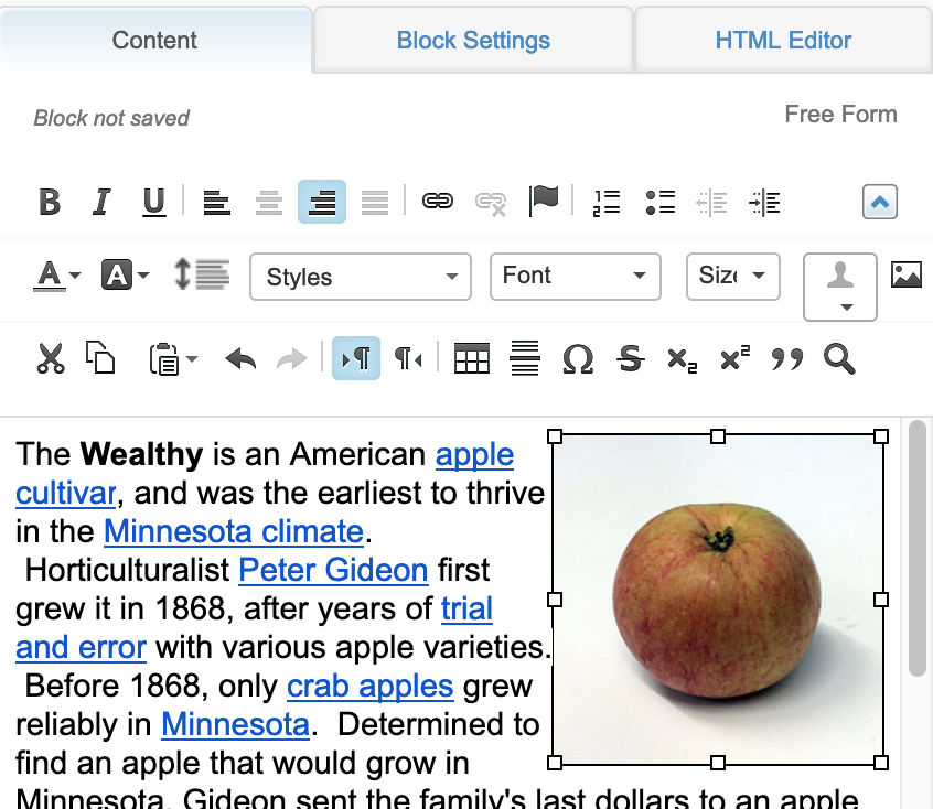 Right-aligned image in Free Form block editor
