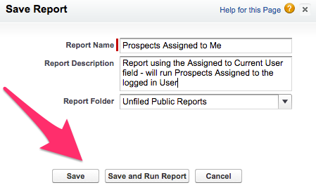 The Save button on the Save Report screen