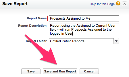 The Save and Run Report button