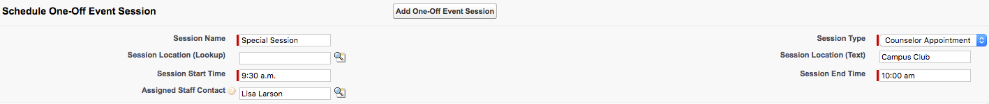 The Schedule One-Off Event Session section