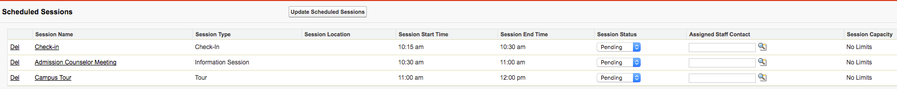 The Scheduled Sessions section with three sessions showing
