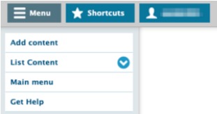The Drupal Lite 7 admin bar is grey with blue buttons, and features an expandable Menu button in the left corner.