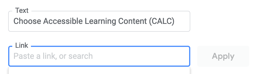Google Docs space for entering text and a link to that text