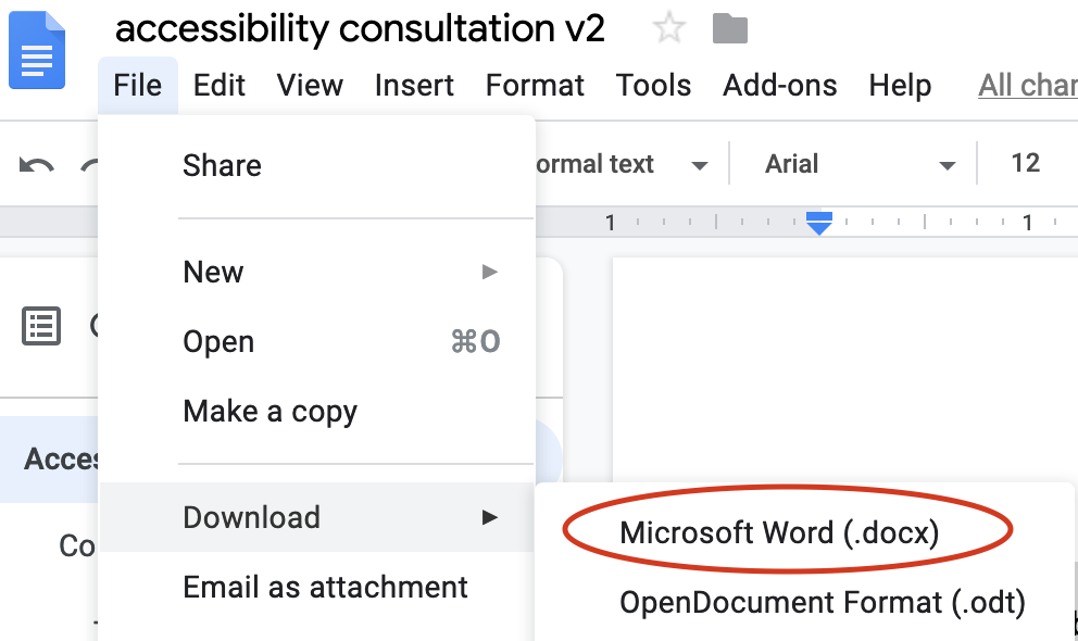 Google Docs File menu; Download is selected, and then Microsoft Word.