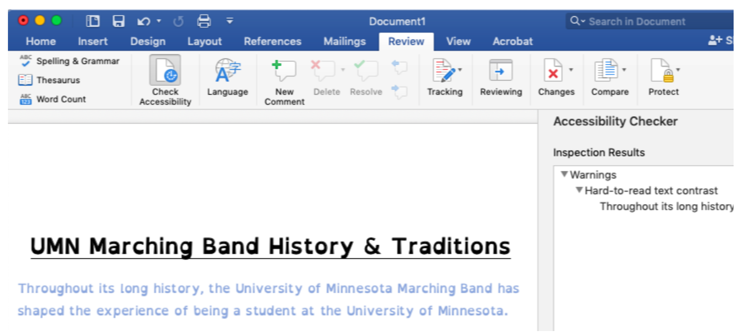 Microsoft Word's Accessibility Checker - Review, then Check Accessibility