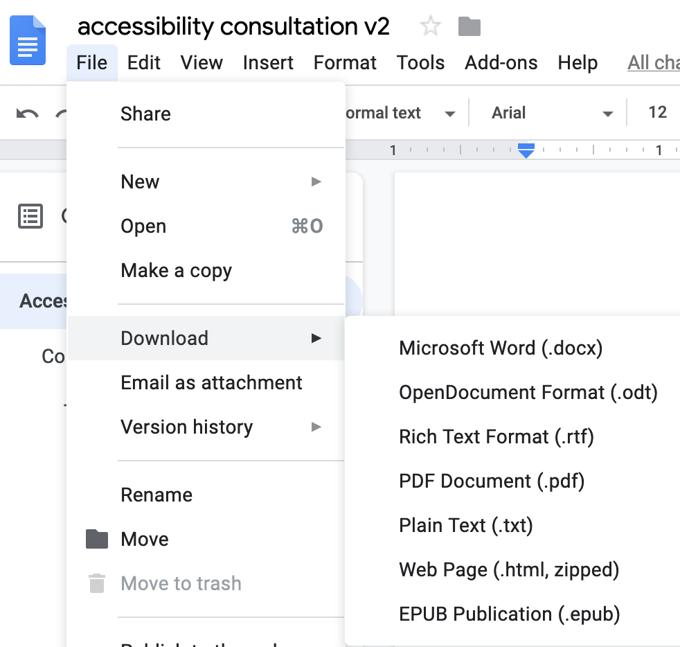 Google Docs can be downloaded as .docx, .odt, .rtf, .pdf, .txt, .html zipped, or .epub