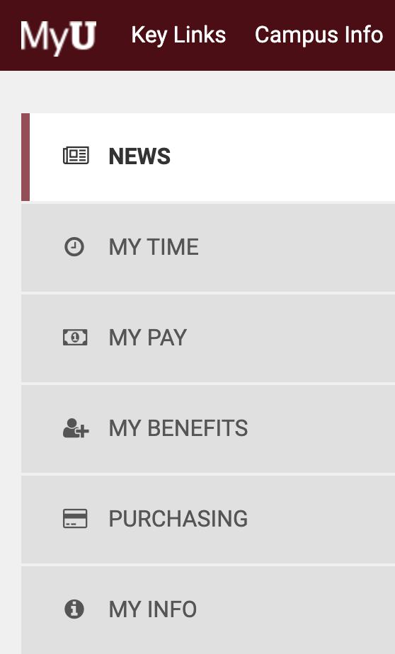 The MyU sidebar: News, My Time, My Pay, My Benefits, Purchasing, My Info