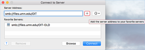 Connect to Server window with Server Address entered. Add to Favorites button is highlighted.