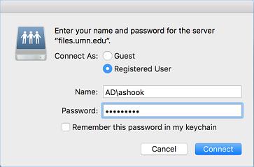 files.umn.edu Server log in window. Example of AD\ + username shown.