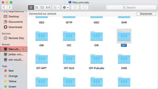 files.umn.edu directory in Finder will now appear under Shared in Finder menu.