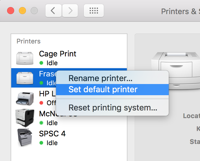 "A printer is selected in the list of added printers. The right-click context menu is opened, and the ""Set default printer"" option is highlighted/selected."
