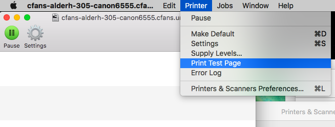 """The Printer menu is dropped down in the menubar. """"Print Test Page"""" is selected."""