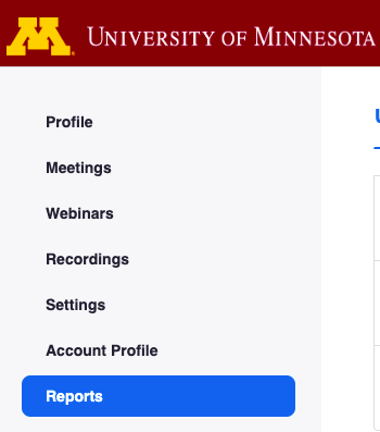 Zoom navigation sidebar; Reports option is selected.