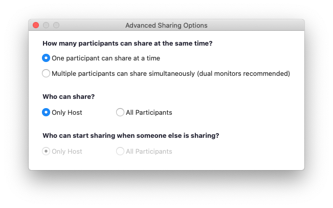 "Zoom's Advanced Sharing Options. ""One participant can share at a time"" is selected. ""Who can share? Only Host"" is selected."