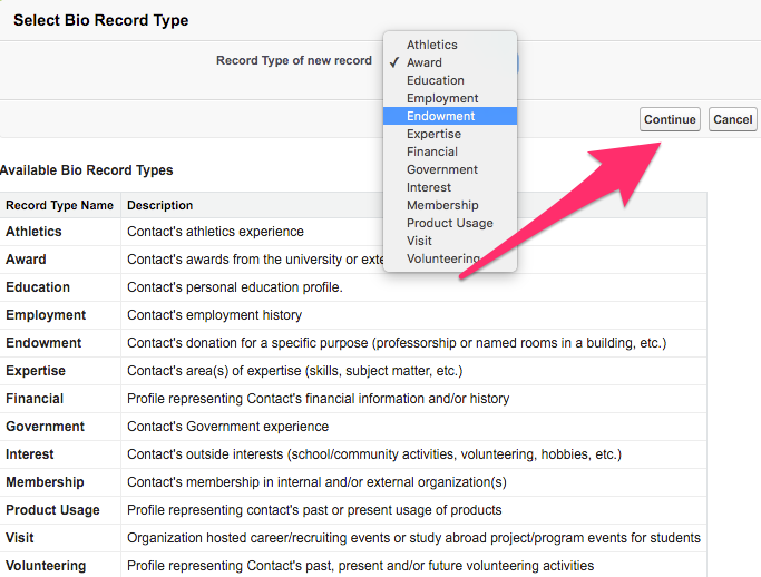 The Select Bio Record Type screen with dropdown menu extended and the continue button highlighted