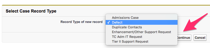 The Select Case Record Type screen with Defect selected and Continue highlighted