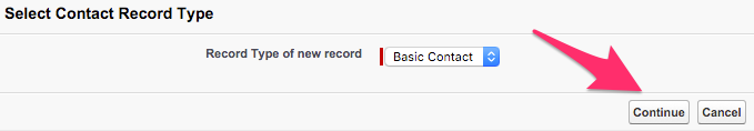 The Continue button on the Select Contact Record Type screen