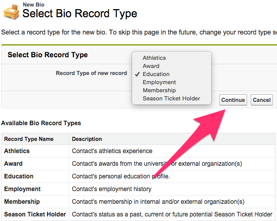 The Select Bios Record Type screen with the dropdown expanded and Continue button highlighted