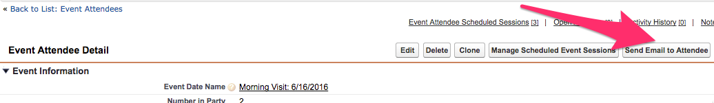 The location of the Send Email to Attendee button above Event Attendee Detail