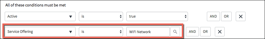 A screenshot showing the Assignment Group filter changed to Service Offering is Wifi