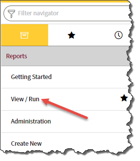 Application navigator with arrow pointing to View / Run option in Reports section.