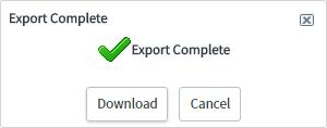 ServiceNow Export Complete window.