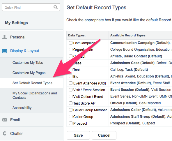 The Display & Layout section of My Settings with Set Default Record Types Options displayed