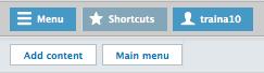 the shortcuts menu