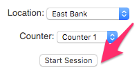 The Location and Counter dropdowns filled in and the Start Session button highlighted