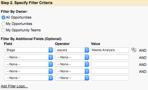 """Step 2. Specify Filter Criteria with a Filter set to """"Stage equals Needs Analysis"""""""