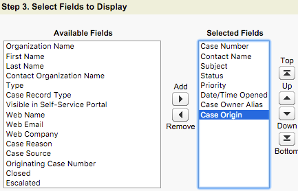 A screenshot of Step 3- Select Fields to Display