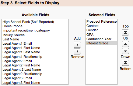 Available and Selected Fields menus under Fields to Display