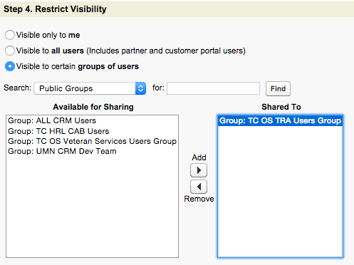 A screenshot of Step 4 with Visible to Certain Groups selected and a group showing in the Shared To area