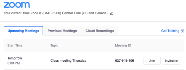 Zoom interface in Canvas integration. Upcoming meeting with details included.