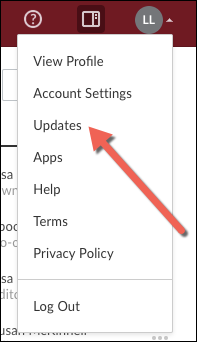 A screenshot of the expanded account menu with Updates highlighted