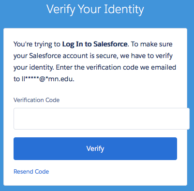 The Verify Your Identity screen in Salesforce