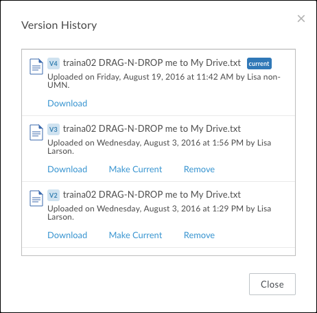 The Version History Window showing 3 revisions of a document with the current on the top and options to download make current or remove on the other two showing in the list