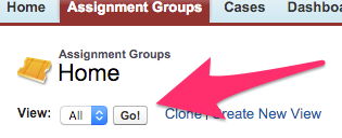 The View Menu on Assignment Groups Home with the Go! button highlighted