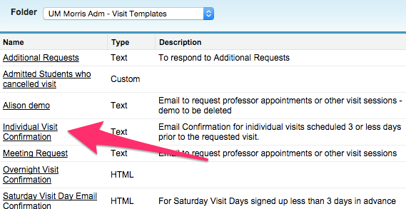 A list of Email Templates with the Name column highlighted