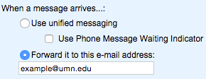 "A screenshot showing the ""When a message arrives..."" section of the screen with the Forward it to this e-mail address field checked off and filled in with an example email address."