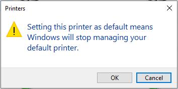 Windows will not manage default printer.