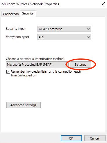 The eduroam Wireless Network Properties window is shown, and the Security tab is selected. The security type dropdown menu is set to WPA2-Enterprise, and the Encryption Type is set to AES. The Settings button is highlighted.