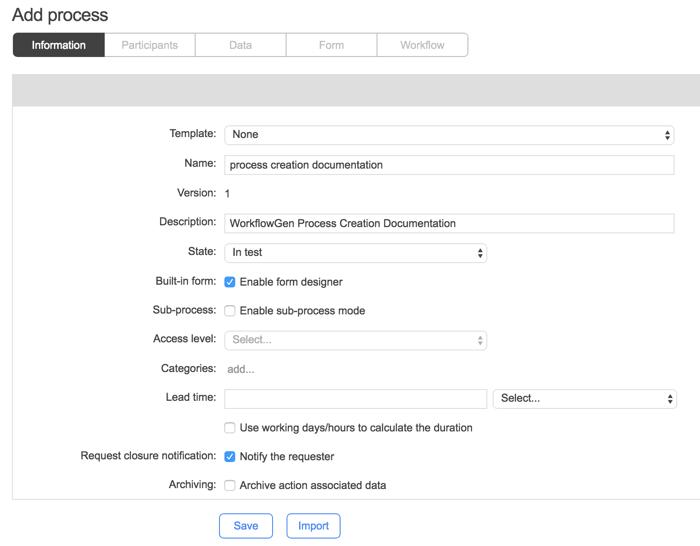 WorkflowGen - New process information screen