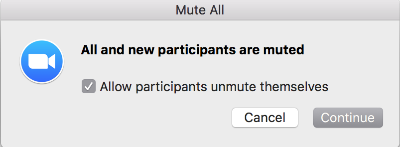 Screenshot of the Zoom Mute All Confirmation Dialog Box