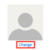 screenshot of the default grey silhouette profile photo, the change button underneath the photo is highlighted