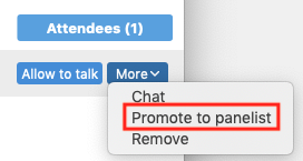 screenshot of the attendees pane in the participant list highlighting Promote to panelist under the More menu next to an attendee name