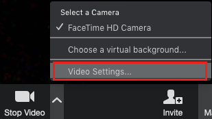Screenshot of the Zoom In-Meeting Video Options Heads Up Display  with Video Settings highlighted